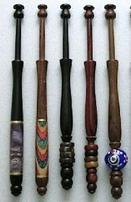 Lace Bobbins, Wood Decorated